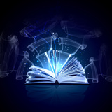 Image of Opened Magic Book with Magic Lights Posters by Sergey Nivens