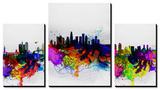 NaxArt - California Cities Watercolor Skylines - Poster