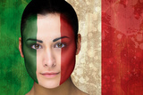 Composite Image of Beautiful Football Fan in Face Paint against Italy Flag in Grunge Effect Impressão fotográfica por Wavebreak Media Ltd