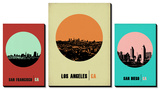 California Cities Circle Skylines Art by  NaxArt