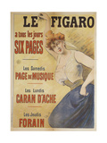 Le Figaro a tous les jours Six Pages, Les Samedis Page de Musique, Les Lundis Caran d'Ache Giclee Print by Jules Chéret