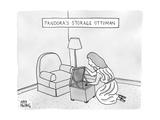 "A woman looks down into a storage ottoman -- ""Pandora's Storage Ottoman."" - New Yorker Cartoon Premium Giclee Print by Amy Hwang"