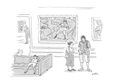 A little girl in a museum lounges in front of a Mary Cassatt of a painting… - New Yorker Cartoon Premium Giclee Print by Kim Warp
