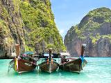Longtail Boats in Maya Bay, Ko Phi Phi, Thailand Prints by R.M. Nunes