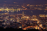Panoramic Cityscape in Night with River and Tower in Penang, Malaysia, Asia. Photographic Print by  elwynn