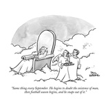 """Same thing every September. He begins to doubt the existence of man, then…"" - New Yorker Cartoon Premium Giclee Print by Paul Karasik"