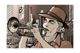 Illustration of a Trumpeter in a New York Street Art by  isaxar