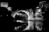 Mostar Bridge at Night, Mostar Bosnia and Herzegovina - Night Scene in Black and White Tone Photographic Print by  Orhan