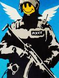 Smiley Face Police Graffiti Poster