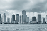 Miami Skyline Panorama in Black and White in the Day with Urban Skyscrapers and Cloudy Sky over Sea Photographic Print by Songquan Deng