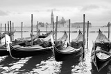 Gondolas near Saint Mark Square in Venice, Italy. Black and White Image. Poster by  Zoom-zoom