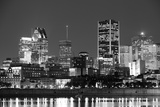 Montreal over River at Dusk with City Lights and Urban Buildings in Black and White Photographic Print by Songquan Deng