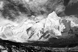 Black and White Panoramic View of Mount Everest Photographic Print by Daniel Prudek
