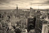 New York City Skyline Black and White with Urban Skyscrapers at Sunset. Print by Songquan Deng