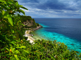 Tropical Green Island and Blue Sea with Coral Reef. View from Top of a Mountain to Apo Reef Natural Posters by Dudarev Mikhail