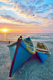 Blue Fisherman Boats and Sunrise Photographic Print by laurentiu iordache