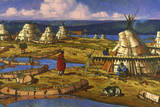 In Manitoba, Cree Indians Set Up Camp Giclee Print by W. Langdon Kihn