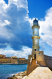 Chania Crete (Greece) - Dramatic Image of Light House Photographic Print by  Maugli-l