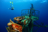 Free Diver Exploring the Ship Wreck in Tropical Clear Sea Poster by Dudarev Mikhail