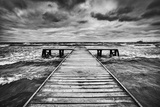 Old Wooden Jetty, Pier, during Storm on the Sea. Dramatic Sky with Dark, Heavy Clouds. Black and Wh Posters by PHOTOCREO Michal Bednarek