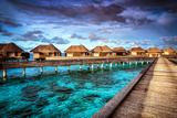 Luxury Resort, Many Cute Bungalow on the Water, Amazing View, Beautiful Coral under Transparent Wat Posters by Anna Omelchenko