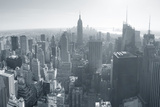 New York City Skyline Black and White in Midtown Manhattan Aerial Panorama View in the Day. Posters by Songquan Deng