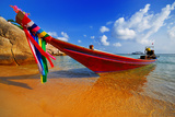 Traditional Thai Longtail Boat on the Beach Print by  vitalytitov