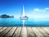 Yacht and Wooden Platform Photographic Print by Iakov Kalinin