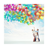 Family Holding Colorful Balloons Poster by Sergey Nivens