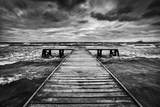Old Wooden Jetty, Pier, during Storm on the Sea. Dramatic Sky with Dark, Heavy Clouds. Black and Wh Photographic Print by PHOTOCREO Michal Bednarek