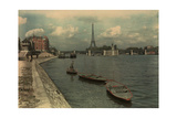 Man Sails on the Seine River Near the Eiffel Tower and Pont Grenelle Photographic Print by W. Robert Moore