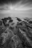 Black and White Landscape Looking out to Sea with Rocky Shore and Beautful Sunset Sky Prints by  Veneratio