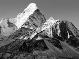 Black and White View of Ama Dablam - Way to Everest Base Camp - Nepal Posters by Daniel Prudek