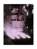A Giant Dipper Pours White-Hot Molten Steel into Cooling Cylinders Photographic Print by Jacob J. Gayer