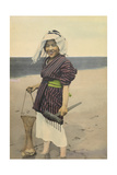 A Woman Smiles and Holds a Net Filled with Clams and a Digging Tool Photographic Print by H.M. Herget