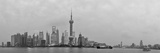 Shanghai Panorama over River with Urban Skyline and Skyscraper in Black and White Photo by Songquan Deng