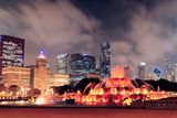 Chicago Skyline Panorama with Skyscrapers and Buckingham Fountain in Grant Park at Night Lit by Col Posters by Songquan Deng