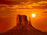 Monument Valley West Mitten at Sunrise Sun Orange Sky Utah Photo Mount Photographic Print by  holbox