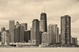 Chicago City Urban Skyline Black and White with Skyscrapers over Lake Michigan with Cloudy Blue Sky Photographic Print by Songquan Deng