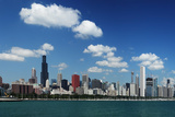 Chicago Daytime Skyline View from the Lake Michigan under Blue Sky. Panoramic View. Photographic Print by  Yaro