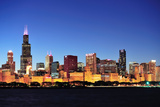 Chicago City Downtown Urban Skyline at Dusk with Skyscrapers over Lake Michigan with Clear Blue Sky Print by Songquan Deng