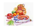 Fish, Crab and Vegetables Print by  KUCO