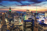New York City Skyline with Urban Skyscrapers at Sunset. Photographic Print by Songquan Deng