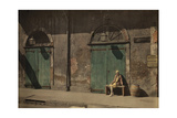 A Woman Sits Outside the Doorway of New Orlean's Absinthe House Photographic Print by Edwin L. Wisherd
