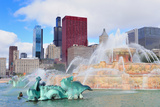 Chicago Skyline Panorama with Skyscrapers and Buckingham Fountain in Grant Park in the Morning With Prints by Songquan Deng