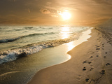 Golden Sunset on the Sea Shore and Footprints in the Sand Fotografie-Druck von  ollirg