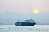 Tanker Ship at Sunset Prints by  p.lange