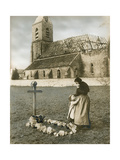 A Woman Grieves at the Grave Site of Her Son, Killed in World War I Photographic Print by H.M. Herget