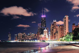 Chicago City Urban Skyscraper at Night at Downtown Lakefront Illuminated with Lake Michigan and Wat Photographic Print by Songquan Deng