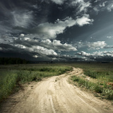 Road in Field and Stormy Clouds Poster by Dudarev Mikhail